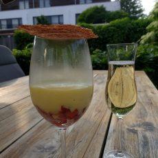 Sabayon met aardbeien en citroenkletskop
