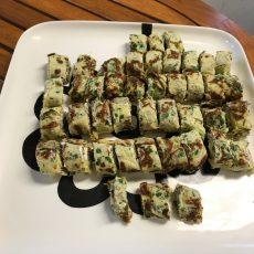 Gevulde pannenkoekjes met groentecreme